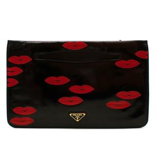 Prada Black Leather Lips Embroidered Pouch