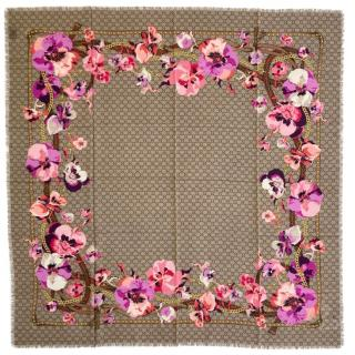 Gucci Blooms Monogram Wool Scarf