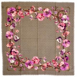 Gucci Blooms Monogram Wool Scarf