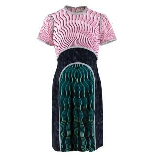Mary Kantrantzou Pink Black & Green Wave Print Piped Dress