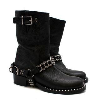Miu Miu Black Leather Studded Chain Trim Boots