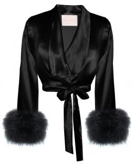 Maguy De Chadirac Black Silk Marabou Feather Trim Cropped Jacket