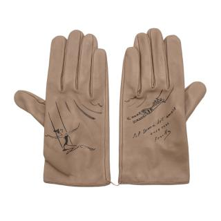 Chez Dede Agnelle Taupe Leather Printed Gloves