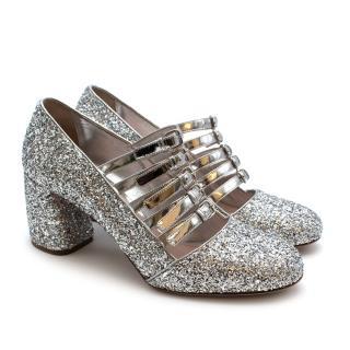 Miu Miu Silver Glitter Leather Strappy Pumps
