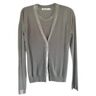 Christian Dior Vintage Grey Metallic Trimmed Twinset
