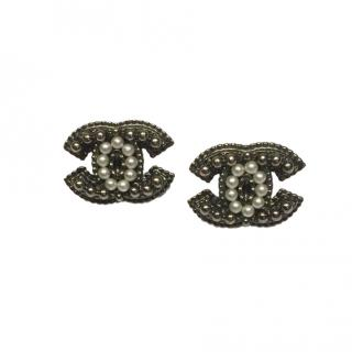 Chanel Faux Pearl Embellished CC Earrings