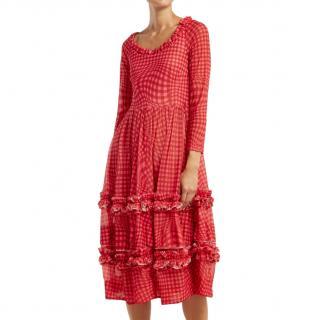 Molly Goddard Red & Pink Gingham Midi Ruffled Midi Dress