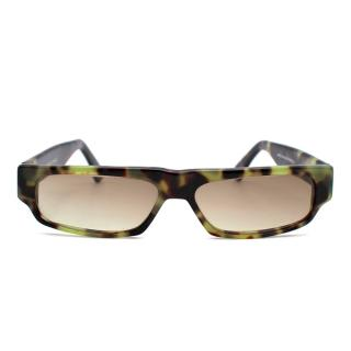 Cutler & Gross Green Tortoiseshell Square Frame Sunglasses