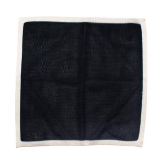 Richard James Bespoke Navy & White Knit Pocket Square