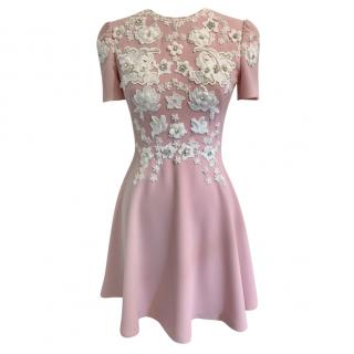 Jenny Packham Embroidered Crepe Pink Mini Dress