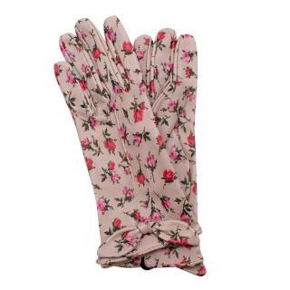Prada Rose Pink Leather Floral Print Gloves