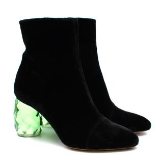 Dries Van Noten Black Velvet Plexi Heel Ankle Boots