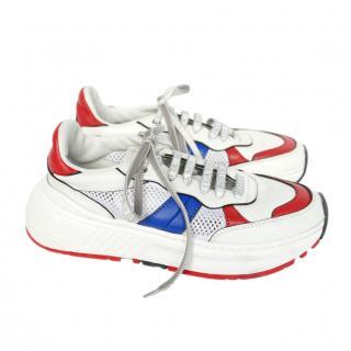 Bottega Veneta Speedster White, Blue & Red Chunky Sneakers