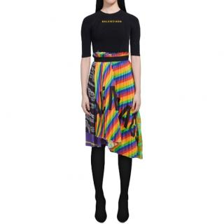 Balenciaga Rainbow Scarf Pleated Skirt