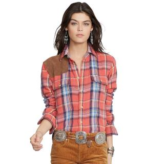 Polo Ralph Lauren Plaid Suede Patch Shirt
