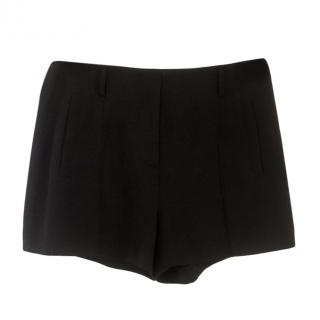 T by Alexander Wang Black Fitted Crepe Shorts