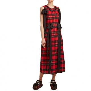 Simone Rocha Red Tartan Georgette Ribbon Detail Dress