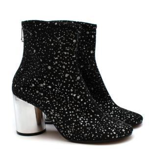 Maison Martin Margiela Black Glitter Ankle Boots