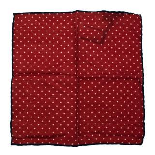 Breuer Red Polka Dot Print Wool Pocket Square