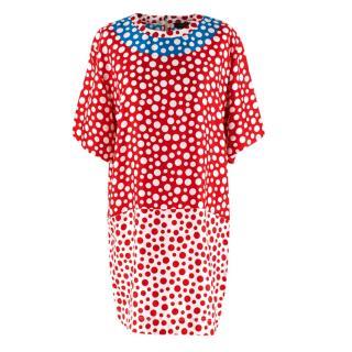 Louis Vuitton x Yayoi Kusama Red & Blue Silk Spotted Dress