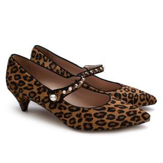 Miu Miu Leopard Print Pony Hair Kitten Heel Mary Janes