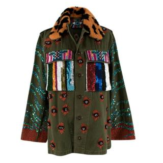 Libertine Green Embellished Army Jacket With Fur Collar