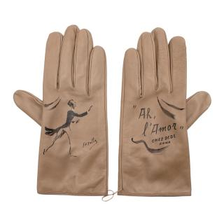 Chez Dede Taupe Leather Printed Gloves