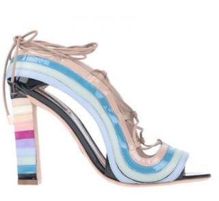 Paula Cademartori crazy stripes lace-up sandals