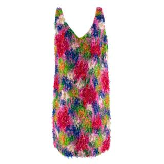 Marni Multicolor Abstract Floral Textured Sleeveless Mini Dress