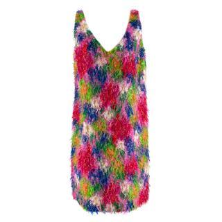 Marni Multicolor Abstract Floral Textured Sleeveless Mini Dress