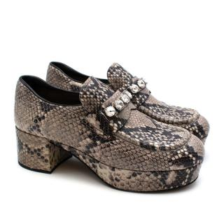 Miu Miu Grey Snake Print Leather Crystal Embellished Platform Pumps