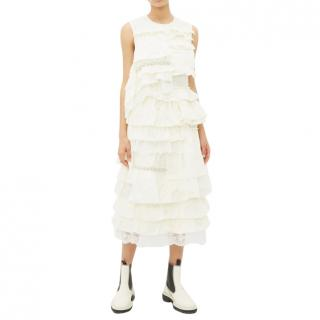 Moncler 4 Simone Rocha Lace-trimmed broderie-anglaise ruffled dress