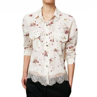 The Kooples Floral Print Lace-Trimmed Crop Shirt
