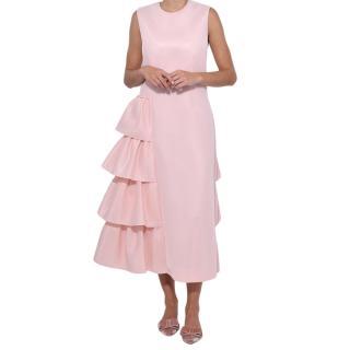 Simone Rocha Pink Neoprene Asymmetrical Ruffled Dress