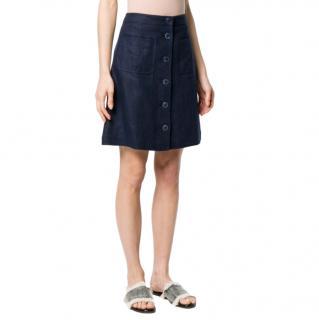 Tory Burch Button Down A-Line Linen Skirt