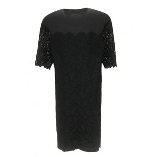 Lanvin Wool & Lace Fitted Black & Grey Dress