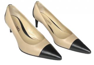 Chanel Leather Two-Tone Pointed Toe Pumps