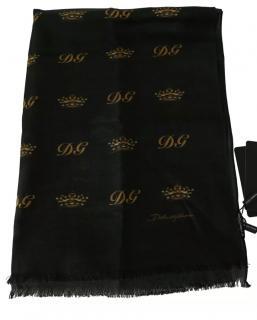 Dolce & Gabbana Crown Print Silk & Wool Scarf