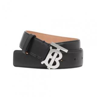 Burberry Monogram Motif Leather Belt in Black/Palladio
