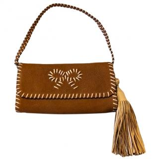 Anya Hindmarch Tan Leather with White Leather Stitching Mini Shoulder Bag
