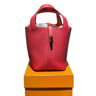 Hermes Red Clemence Leather Picotin Lock 18 GHW