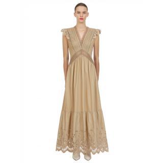 Self Portrait Cotton Broderie Sleeveless Maxi Dress