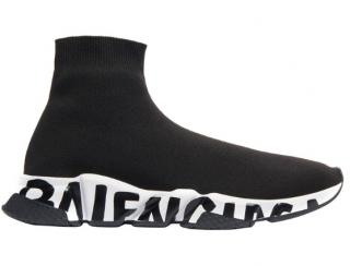 Balenciaga Black & White Graffiti Sneakers