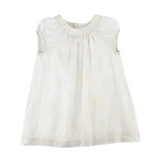 Bonpoint White Linen Glitter Ruffled Dress