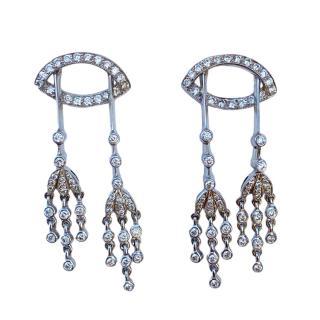 Bespoke 18ct White Gold Diamond Chandelier Drop Earrings