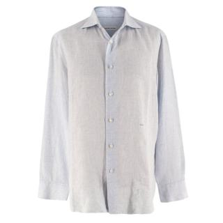 Donato Liguori Blue Checkered Linen Tailored Long Sleeve Shirt