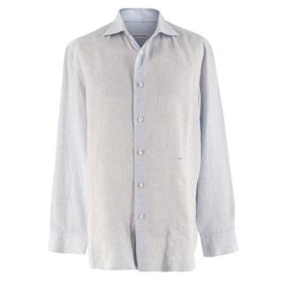 Donato Liguori Blue Checkered Linen Tailored Long Sleeve Shirt