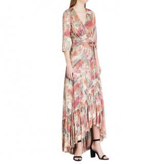 Ba&Sh Metallic Knit Woven Ruffled Midi Dress