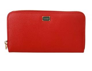 Dolce & Gabbana Red Leather Continental Wallet