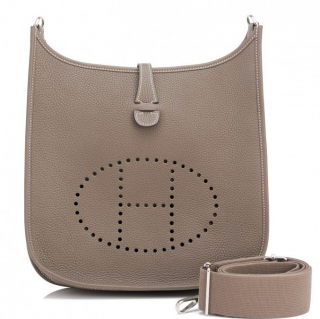 Hermes Etoupe Clemence Leather Evelyne Messenger Bag